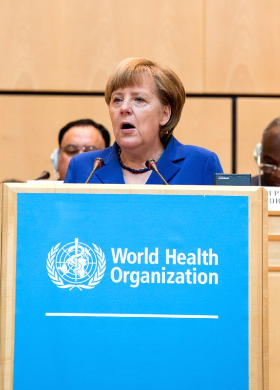 German Chancellor Angela Merkel addresses the opening ceremony of the 68th session of the World Health Assembly (WHA) in Geneva, Switzerland, on May 18, 2015. The ...
