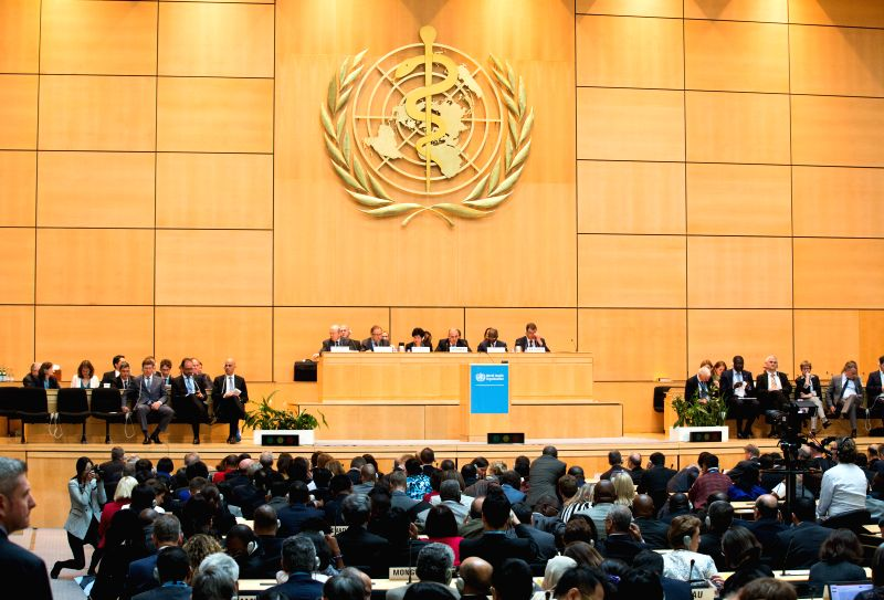 Photo taken on May 18, 2015 shows a view of the 68th session of the World Health Assembly (WHA) in Geneva, Switzerland. The 68th session of the WHA on Monday kicked ...