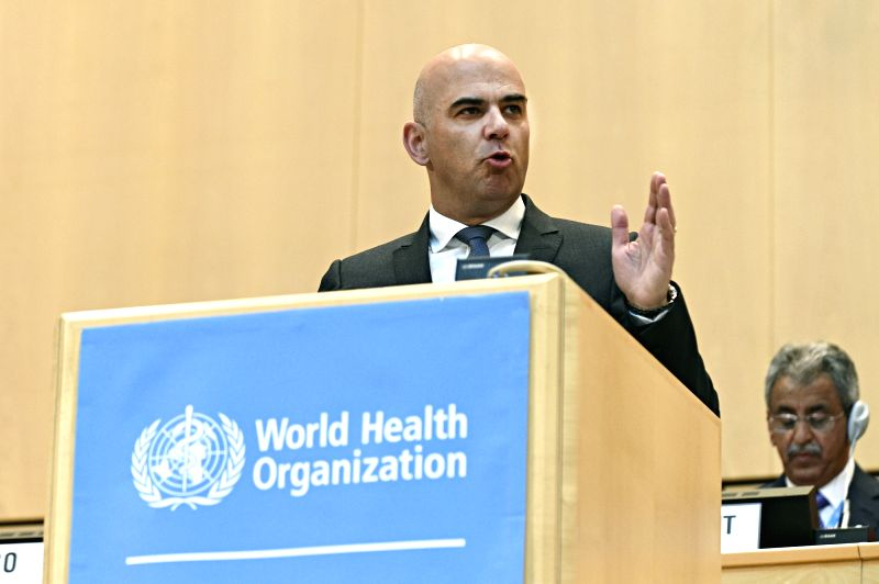 GENEVA, May 22, 2017 - Head of Federal Department of Home Affairs of Switzerland Alain Berset addresses the opening of the 70th World Health Assembly, in Geneva, Switzerland, May 22, 2017.