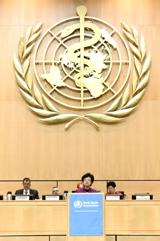 GENEVA, May 22, 2017 - Li Bin (Front), Minister of the China National Health and Family Planning Commission, speaks on the first day of the 70th World Health Assembly (WHA) in Geneva, Switzerland, on ...
