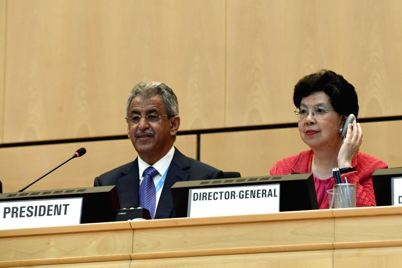 GENEVA, May 22, 2017 - World Health Organization Director-General Margaret Chan (R) attends the opening of the 70th World Health Assembly, in Geneva, Switzerland, May 22, 2017.
