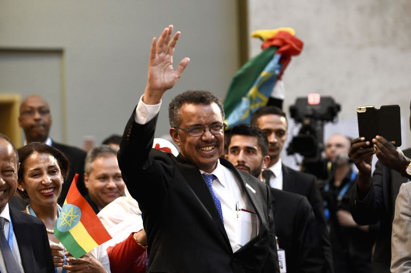 GENEVA, May 23, 2017 - Newly elected Director-General of World Health Organization (WHO) Tedros Adhanom waves during the 70th World Health Assembly in Geneva, Switzerland, May 23, 2017. Tedros ...