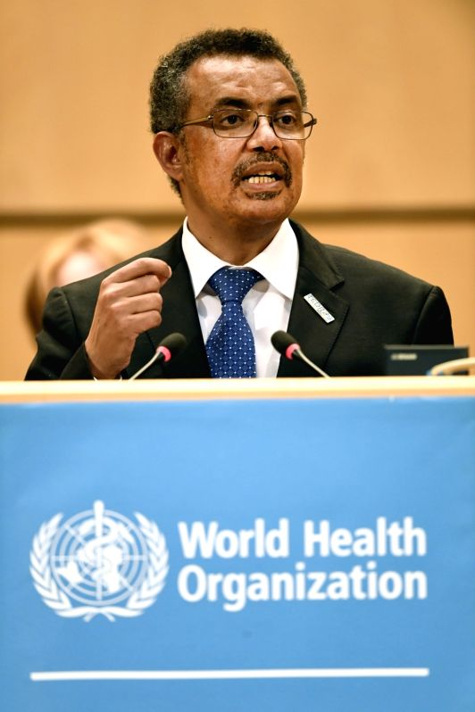 GENEVA, May 23, 2017 - Newly elected Director-General of World Health Organization (WHO) Tedros Adhanom delivers a speech during the 70th World Health Assembly in Geneva, Switzerland, May 23, 2017. ...
