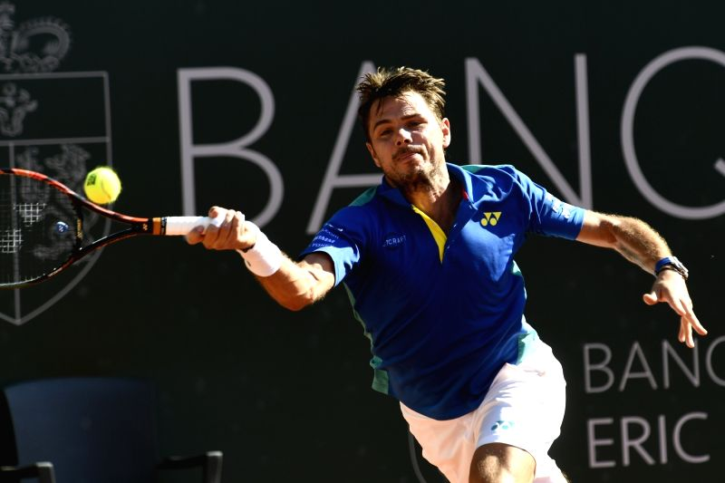 GENEVA, May 27, 2017 - Stanislas Wawrinka of Switzerland returns the ball during the men's semifinal against Andrey Kuznetsov of Russia at the Geneva Open ATP 250 Tennis tournament in Geneva, ...