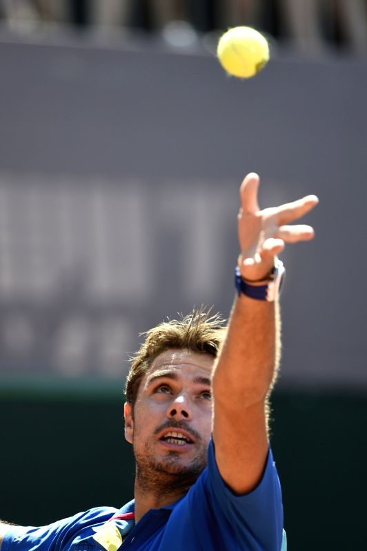 GENEVA, May 28, 2017 - Stanislas Wawrinka of Switzerland serves during the men's final against Mischa Zverev of Germany at the Geneva Open ATP 250 Tennis tournament in Geneva, Switzerland, May 27, ...