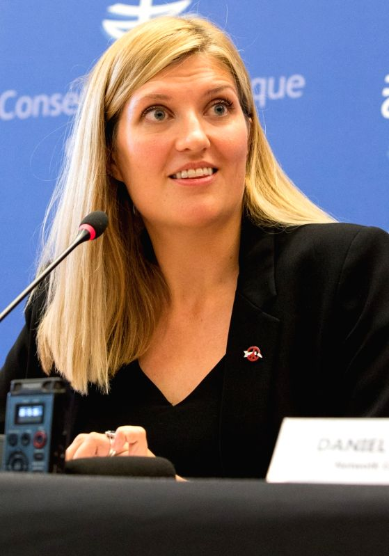 GENEVA, Oct. 7, 2017 - Beatrice Fihn, Executive Director of the International Campaign to Abolish Nuclear Weapons (ICAN), attends a press conference in Geneva, Switzerland, Oct. 6, 2017. The ...