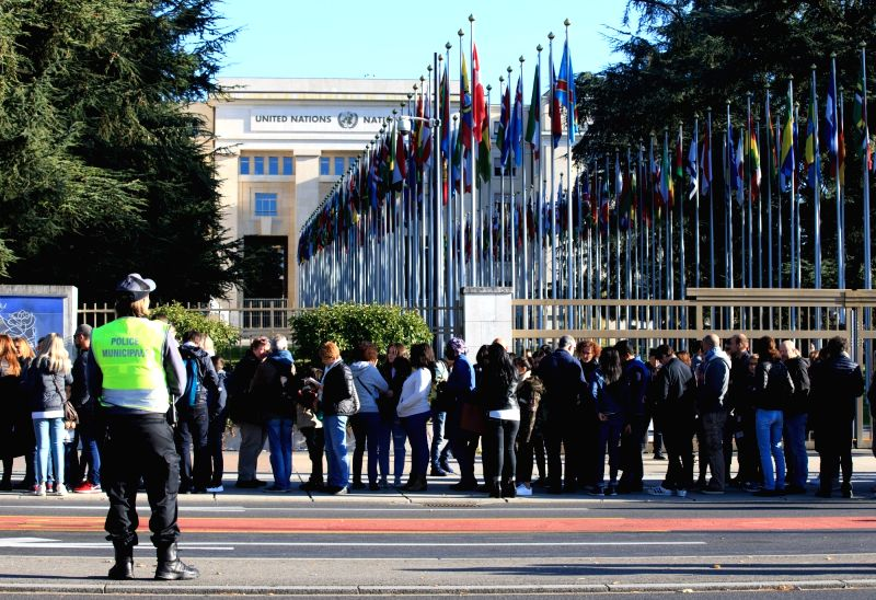 GENEVA, Oct. 7, 2017 - People stand in the queue outside the Palais des Nations, the United Nations European headquarters in Geneva, Switzerland, Oct. 7, 2017. The Palais des Nations opened its door ...