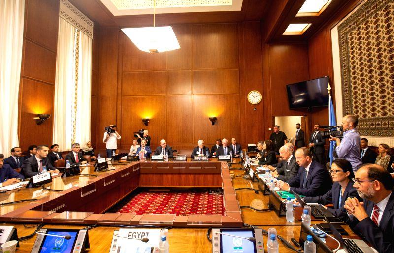 GENEVA, Sept. 14, 2018 - Photo taken on Sept. 14, 2018 shows a meeting during the consultations on Syria in Geneva, Switzerland. Representatives from Egypt, France, Germany, Jordan, Saudi Arabia, the ...
