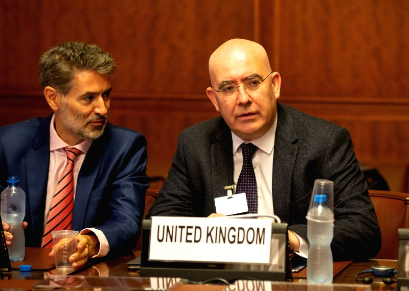GENEVA, Sept. 14, 2018 - UK Special Envoy to Syria Martin Longden (R) attends a meeting, during the consultations on Syria, at the European headquarters of the United Nations in Geneva, Switzerland, ...