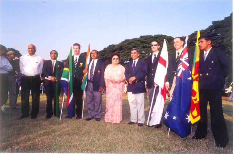 George Abraham (fourth from right) conceived and organised the first ever World Cup for blind in 1998 at New Delhi.