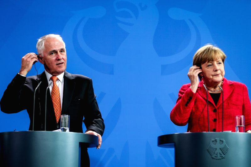 German Chancellor Angela Merkel (R) and visiting Australian Prime Minister Malcolm Turnbull attend a press conference at the Chancellery in Berlin, Germany, on Nov. ... - Malcolm Turnbull