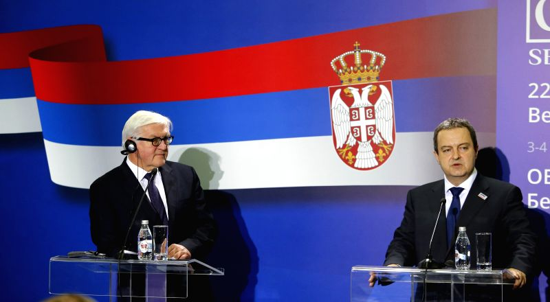 German Minister of Foreign Affairs Frank-Walter Steinmeier (L) attends a joint press conference with Ivica Dacic, chairperson-in-office of the Organization for ...