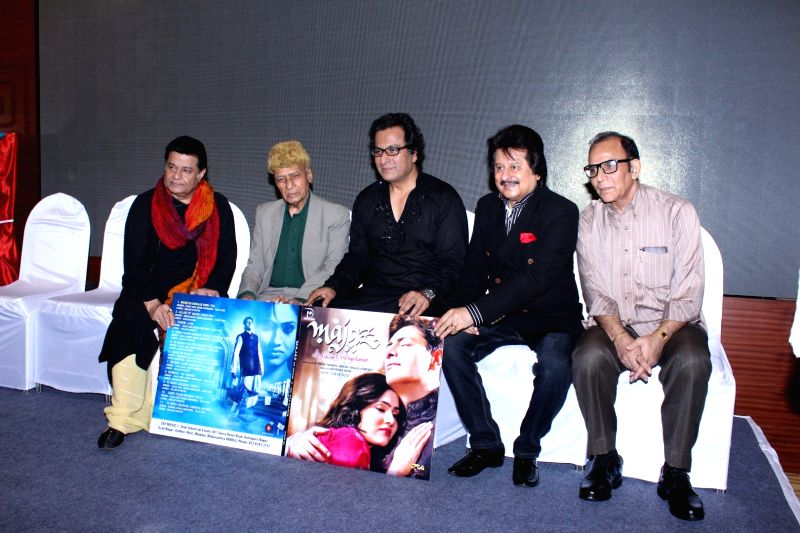 Ghazal singer Anoop Jalota, music director Khayyam, Talat Aziz and singer Pankaj Udhas during the music launch of film Majaz, in Mumbai, on Aug. 8, 2016. - Khayyam