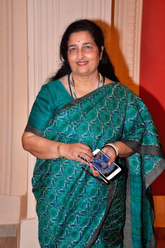 Ghazal singer Anuradha Paudwal during a rehearsal of the15th Khazana Ghazal Festival 2016 for the aid of Cancer and Thalassemia Patients, in Mumbai on July 26, 2016.