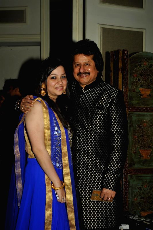 Ghazal singer Pankaj Udhas and his daughter Nayaab during the Khazana, A Festival of Ghazals organized in aid of Cancer Patients Aid Association and Parents Association Thalassemic Unit Trust in ...