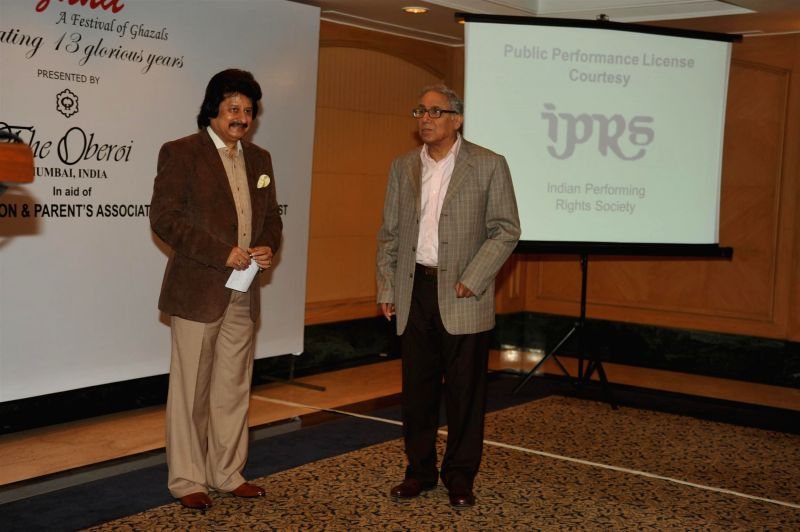 Ghazal singer Pankaj Udhas and Y K Sapru, founder chairman and CEO, Cancer Patients Aid Association during a press conference organised to announce `The Festival of Ghazal` in Mumbai on July 23, ...
