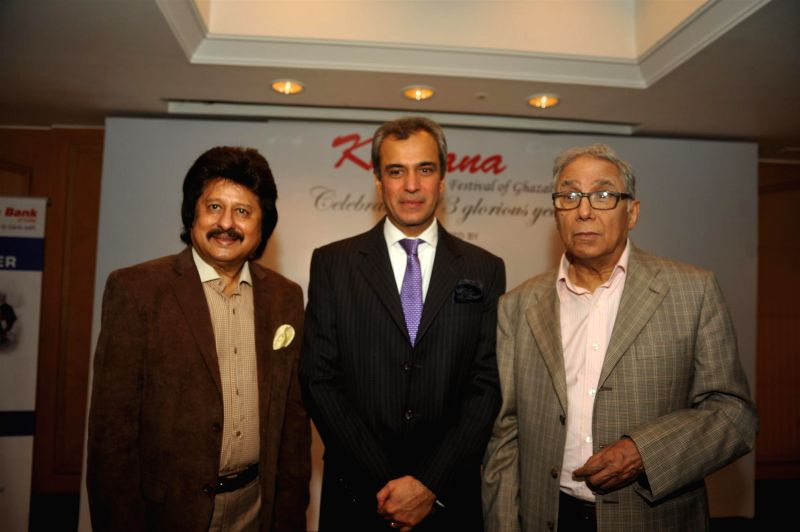 Ghazal singer Pankaj Udhas, Devendra Bharma, Executive Vice President, Oberoi Hotels and Resorts and Y K Sapru, founder chairman and CEO, Cancer Patients Aid Association during a press conference ...