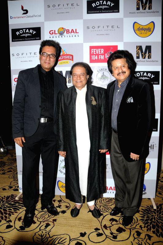 Ghazal singer Talat Aziz, Bhajan singer Anup Jalota and Pankaj Udhas during the Medha Jalota's birthday party in Mumbai on June 25, 2014.
