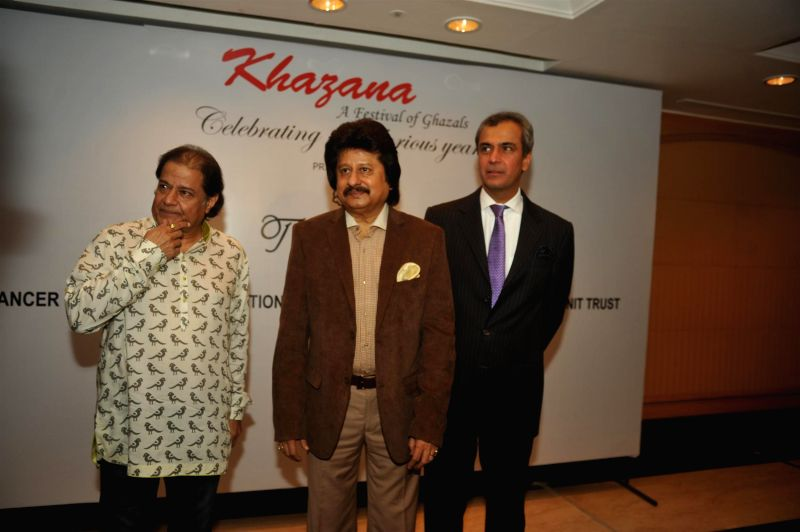 Ghazal singers Anup Jalota, Pankaj Udhas and Devendra Bharma, Executive Vice President, Oberoi Hotels and Resorts during a press conference organised to announce `The Festival of Ghazal` in Mumbai on