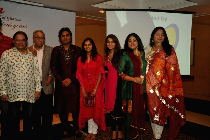 Ghazal singers Anup Jalota, Y K Sapru, founder chairman and CEO, Cancer Patients Aid Association and others during a press conference organised to announce `The Festival of Ghazal` in Mumbai on July .