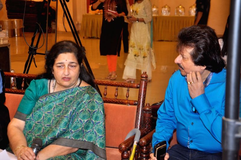 Ghazal singers Anuradha Paudwal and Pankaj Udhas during a rehearsal of the15th Khazana Ghazal Festival 2016 for the aid of Cancer and Thalassemia Patients, in Mumbai on July 26, 2016.
