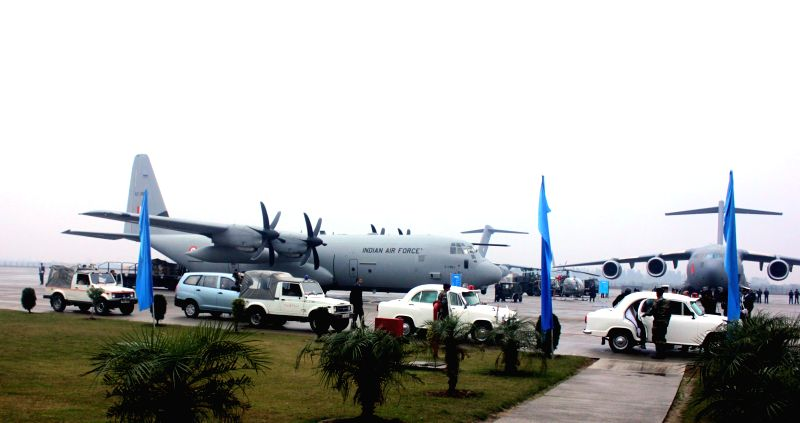 C-17 Globemaster III and C-130J Hercules of Indian Airforce at Hindon Air Force Station in Ghaziabad, on Jan 2, 2015.