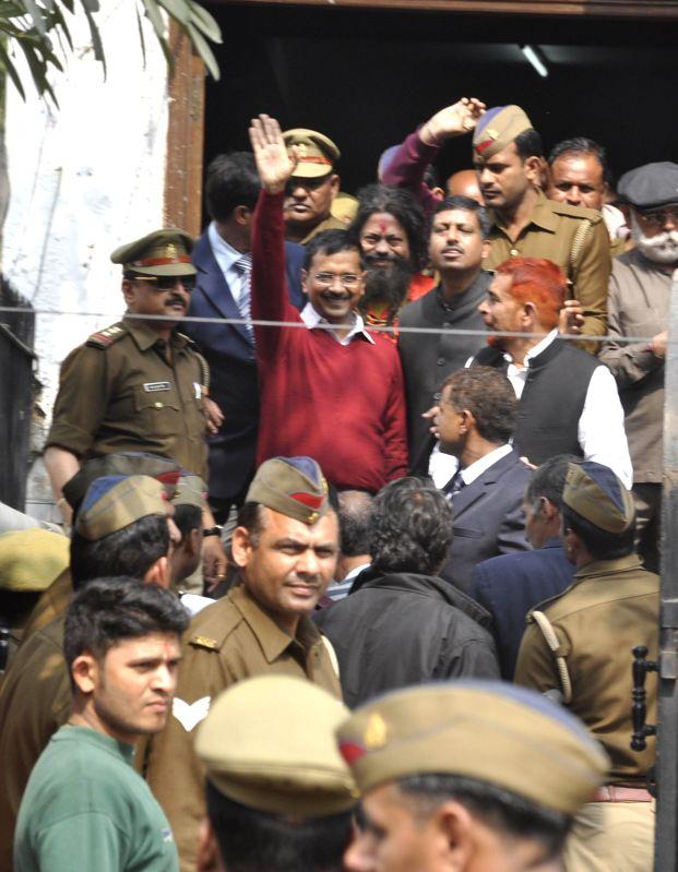 Delhi Chief Minister Arvind Kejriwal after meeting people at Janata Durbar  in Ghaziabad on Feb 18, 2015. - Arvind Kejriwal