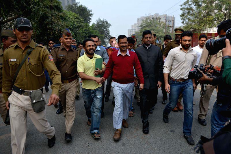 Delhi Chief Minister Arvind Kejriwal after his Janata Durbar in Ghaziabad, on Feb 19, 2015. - Arvind Kejriwal
