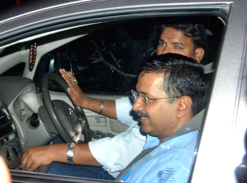 Delhi Chief Minister Arvind Kejriwal arrives back in Ghaziabad after undergoing a naturopathy treatment for his chronic cough and blood sugar level at a Bengaluru Hospital on March 16, ... - Arvind Kejriwal