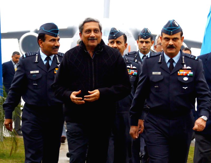 The Union Minister for Defence Manohar Parrikar accompanied by the Chief of the Air Staff, Air Chief Marshal Arup Raha and the Air Officer Commanding-in-Chief , Western Air Command, Air ...