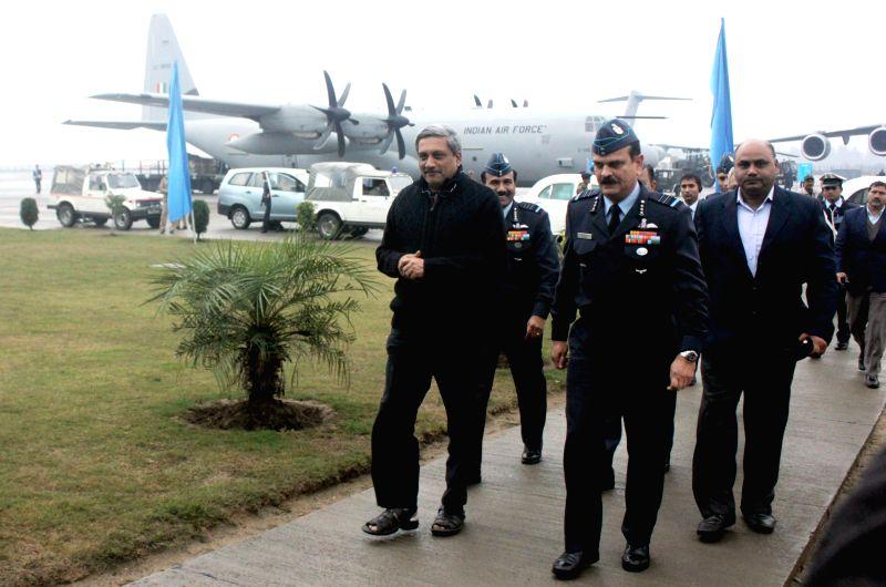 Union Defence Minister Manohar Parikkar at Hindon Air Force Station in Ghaziabad, on Jan 2, 2015. - Manohar Parikkar