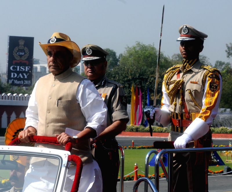 Union Home Minister Rajnath Singh inspects guard of honour during the 46th CISF Raising Day Function at Indirapuram, in Ghaziabad on March 10, 2015. - Rajnath Singh