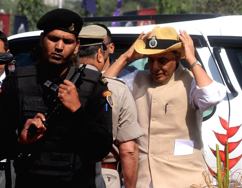 Union Home Minister Rajnath Singh during the 46th CISF Raising Day Function at Indirapuram, in Ghaziabad on March 10, 2015. - Rajnath Singh