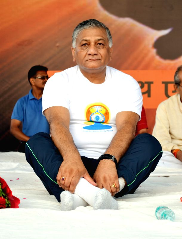 Union Minister of State for External Affairs General (retired) V K Singh Yoga Day celebrations in Ghaziabad, on June 21, 2015.