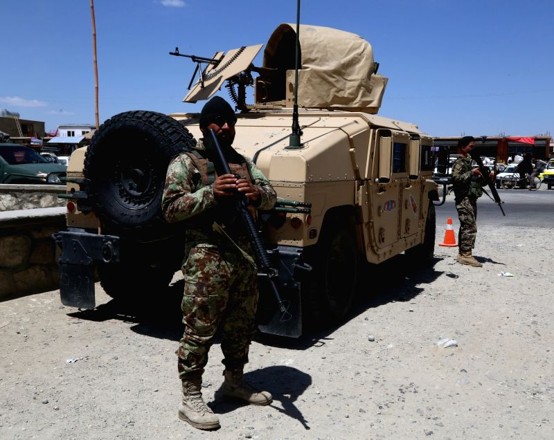 GHAZNI, May 07, 2017 - Afghan security personnel satnd guard during a military operation in Ghazni province, eastern Afghanistan, May 7, 2017.