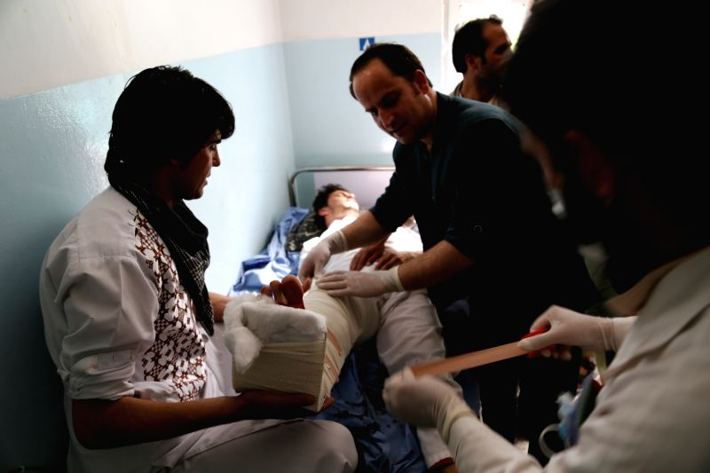 GHAZNI, May 31, 2016 - An injured man receives medical treatment after a blast at a local hospital in Ghazni province, Afghanistan, May 31, 2016. At least one person was killed and 11 others injured ...