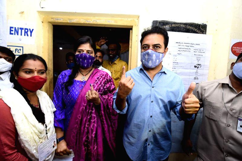 GHMC polls: KTR, Owaisi, Kishan Reddy cast votes