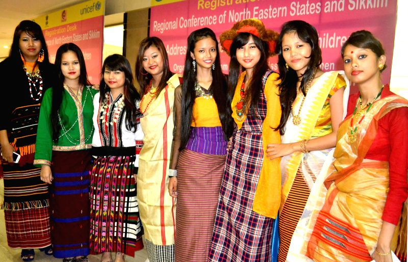 Girls dressed in the traditional attire of their respective states during the inaugural session of the Regional conference of Northeastern States and Sikkim on addressing Trafficking of Women and ...