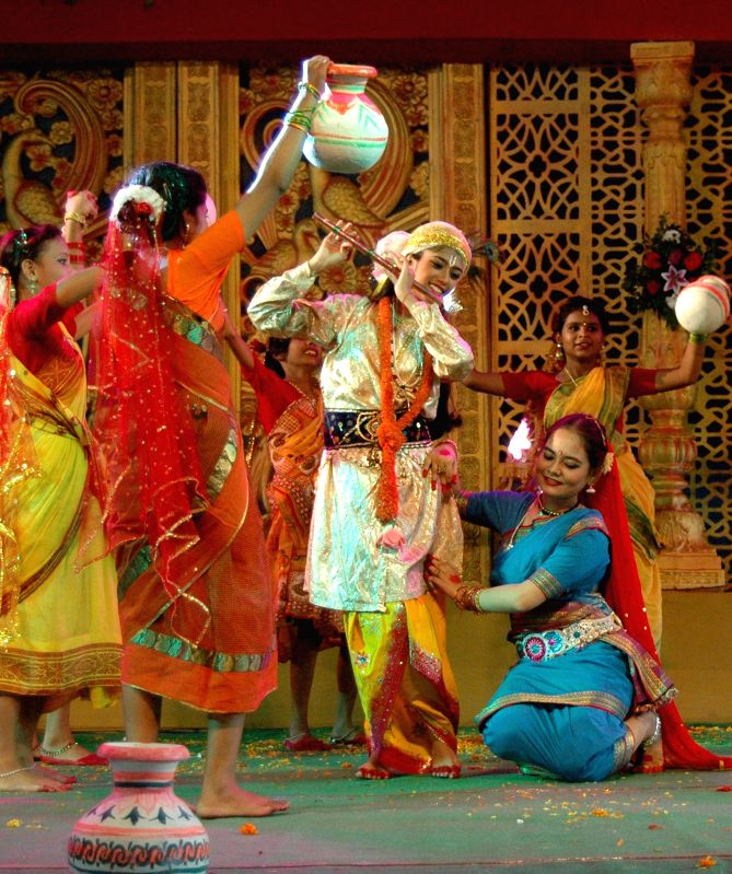 Girls performing in the dance competion during Janmastami celebrations by Hare Krishna Movement, at Sonaram field in Guwahati on Aug. 16, 2014.
