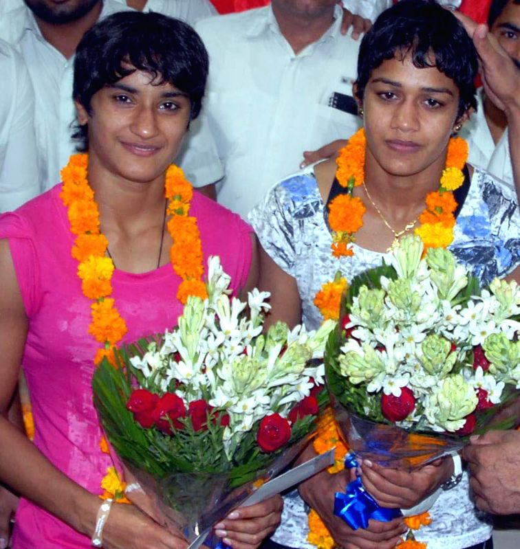 Glasgow 2014 Commonwealth Games Gold medal winners in wrestling and Judoka Babita and Vinesh in Gurgoan on August 2, 2014.