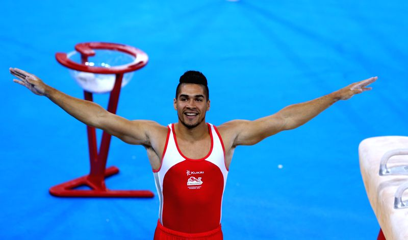 Louis Smith of England reacts during the men's pommel horse final of Gymnastics Artistic at the 2014 Glasgow Commonwealth Games in the SSE Hydro in Glasgow, Scotland