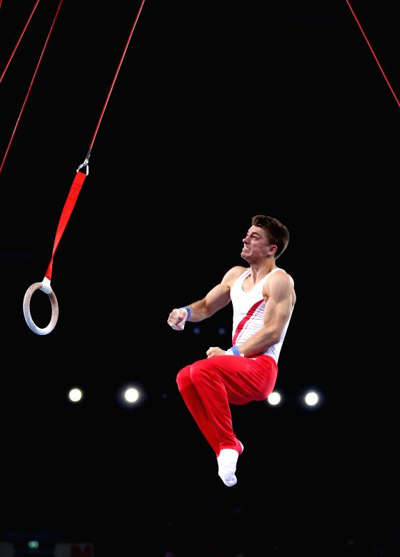 Max Whitlock of England competes during the men's rings final of Gymnastics Artistic at the 2014 Glasgow Commonwealth Games in the SSE Hydro in Glasgow, Scotland on .