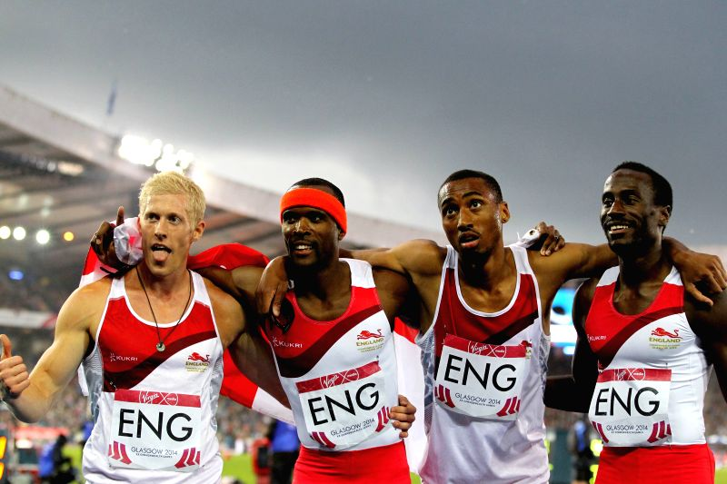 Athletes of England celebrate after the men's 4X400m relay final of Athletics at the 2014 Glasgow Commonwealth Games in Hampden Park in Glasgow, Scotland on Aug. 2, .