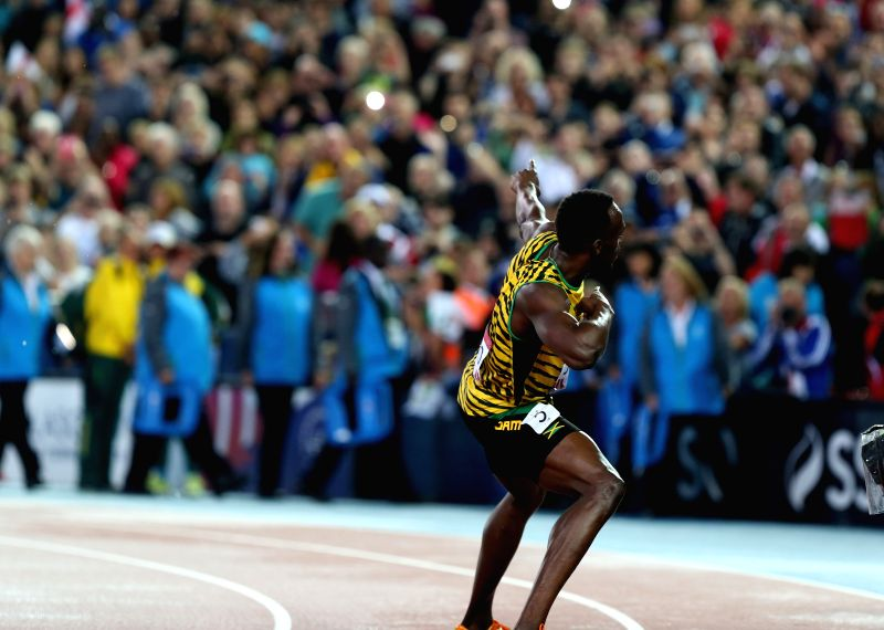 Usain Bolt of Jamaica reacts after the men's 4X100m relay final of Athletics at the 2014 Glasgow Commonwealth Games in Hampden Park in Glasgow, Scotland on Aug. 2, ..