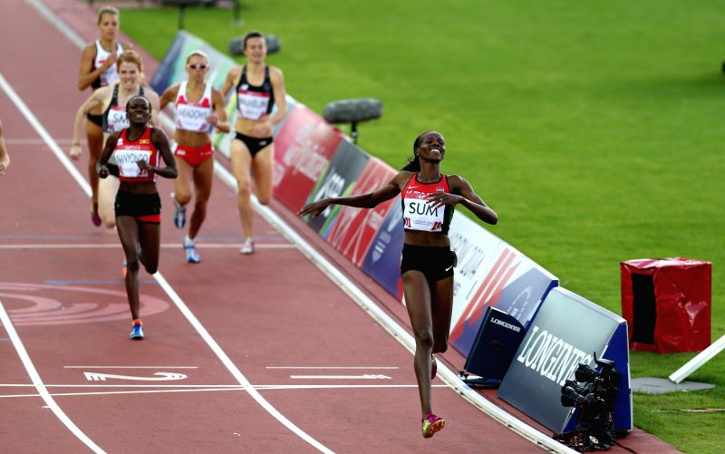 Eunice Jepkoech Sum of Kenya crosses the finish line during the women's 800M final of Athletics at the 2014 Glasgow Commonwealth Games in Hampden Park in Glasgow, .