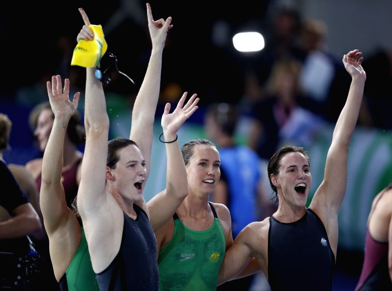 Bronte Campbell, Emma McKeon, Cate Campbell and Melanie Schlanger of Australia celebrate after winning the Women's 4X100m Freestyle Relay Final during day - Cate Campbell