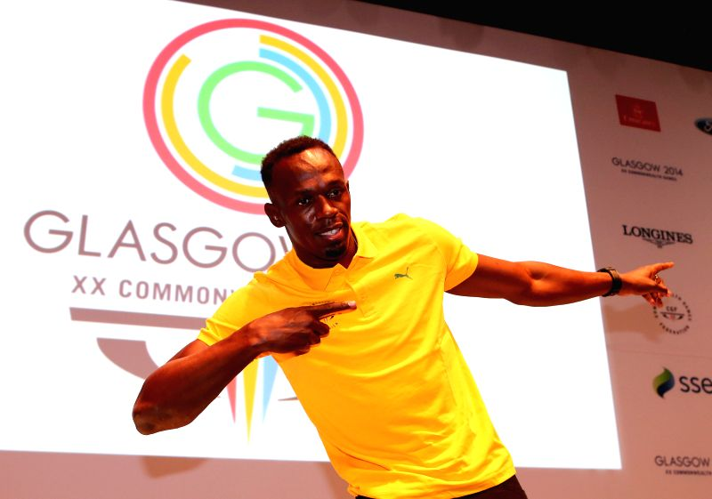 Usain Bolt of Jamaica attends a press conference on day 3 of the Glasgow 2014 Commonwealth Games in the Loch Lomond room at the MPC in Glasgow, Scotland on July 26,