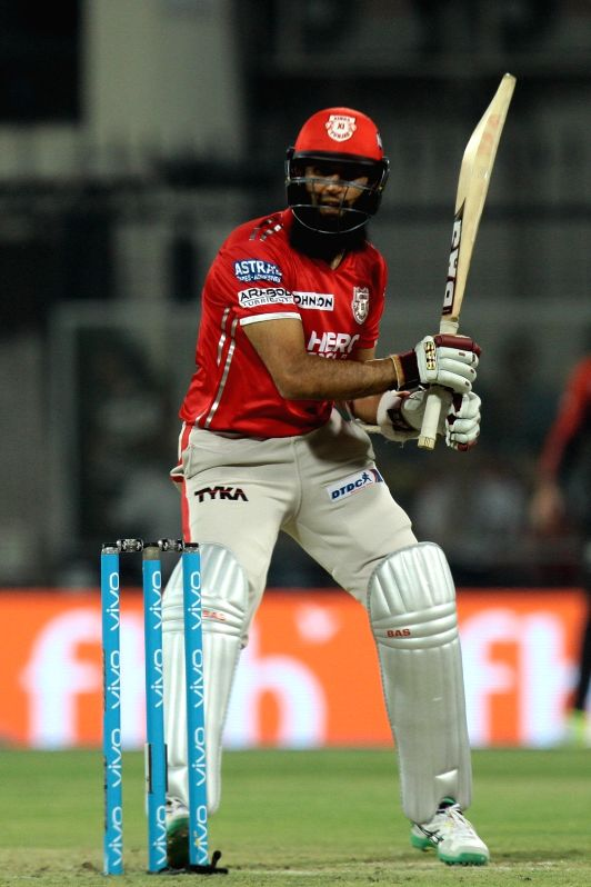 Glenn Maxwell of Kings XI Punjab in action during an IPL 2017 match between Kings XI Punjab and Royal Challengers Bangalore at Holkar Cricket Stadium in Indore on April 10, 2017.