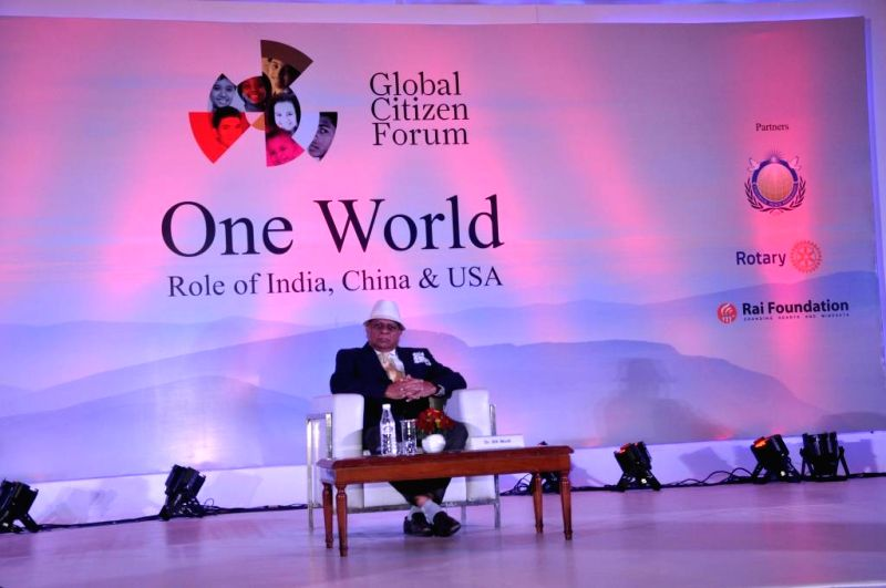 Global Citizen Forum Founder Dr. B K Modi at the Global Conclave organised in New Delhi on Jan.3, 2014. - B K Modi