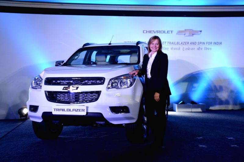 GM CEO Mary Barra at the of launch the Chevrolet Trailblazer in New Delhi, on July 29, 2015.